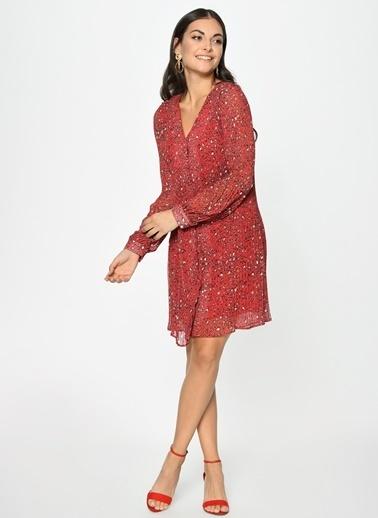 Loves You İnce Piliseli Emprime Şifon Elbise Kırmızı